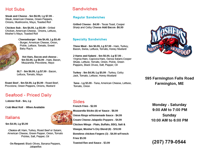 Mosher's Menu